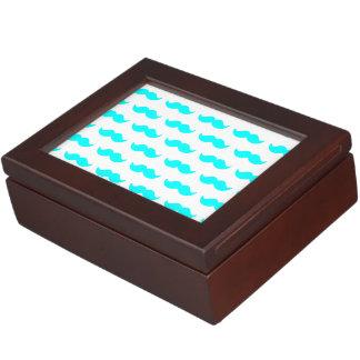Aqua Blue and White Mustache Pattern 1 Memory Box