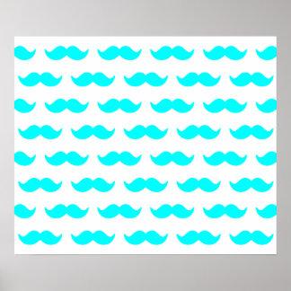 Aqua Blue and White Mustache Pattern 1 Poster