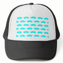 Aqua Blue and White Mustache Pattern 1 Trucker Hat