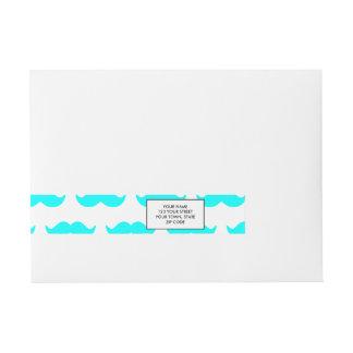 Aqua Blue and White Mustache Pattern 1 Wraparound Address Label