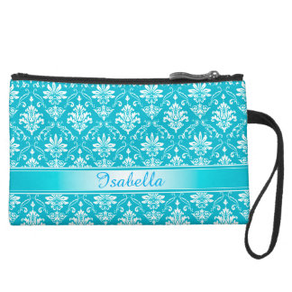 Aqua Blue and White Named Damask Wristlet Clutches