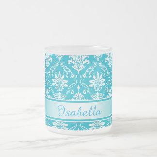 Aqua Blue and White Named Damask Frosted Glass Coffee Mug