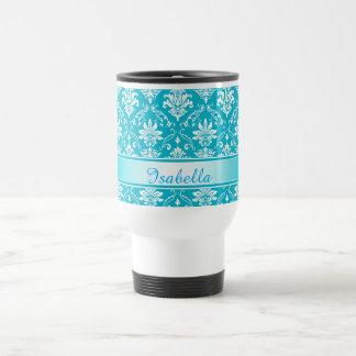 Aqua Blue and White Named Damask Travel Mug