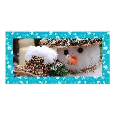 Disney Themed Aqua Blue and White Snow Flurries Custom Card