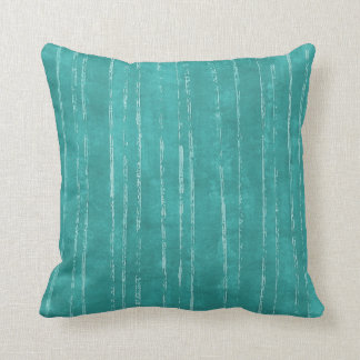 Aqua blue and white stripe pattern throw pillow