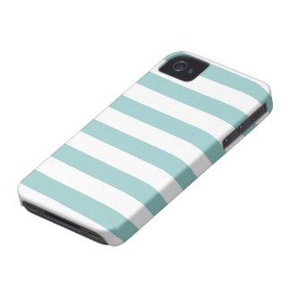 Aqua Blue and White Stripes Pattern Case-Mate iPhone 4 Cases