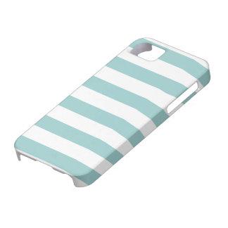 Aqua Blue and White Stripes Pattern iPhone 5 Case