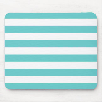 Aqua Blue and White Stripes Pattern Mouse Pad