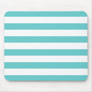 Aqua Blue and White Stripes Pattern Mousepads