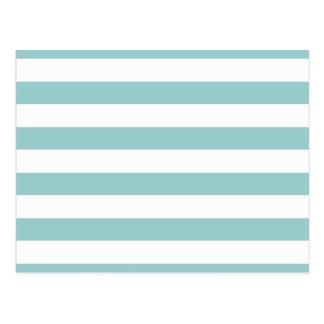Aqua Blue and White Stripes Pattern Postcard