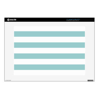 "Aqua Blue and White Stripes Pattern Skins For 15"" Laptops"