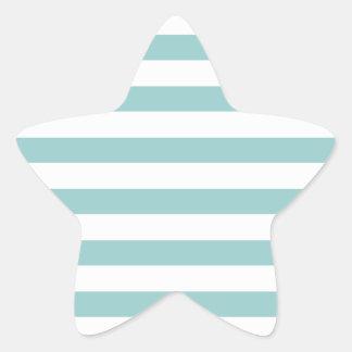 Aqua Blue and White Stripes Pattern Star Sticker
