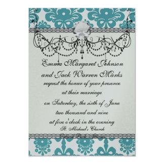 aqua blue and white swirl damask pattern card