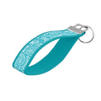Aqua-Blue And White Vintage Paisley Pattern Wrist Keychain