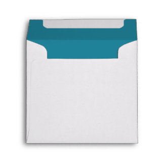Aqua Blue and White Wedding Envelope