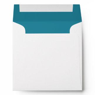 Aqua Blue and White Wedding Envelope