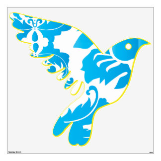 Aqua Blue and Yellow Damask Flying Bird Wall Decal