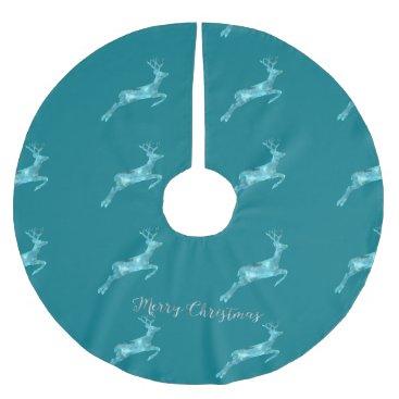 Beach Themed Aqua Blue Artistic Christmas Deer Brushed Polyester Tree Skirt