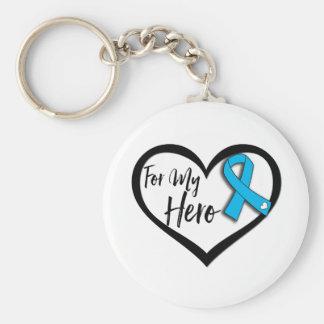 Aqua Blue Awareness Ribbon For My Hero Basic Round Button Keychain
