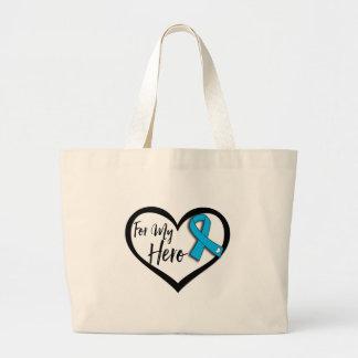 Aqua Blue Awareness Ribbon For My Hero Large Tote Bag