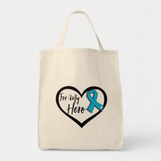 Aqua Blue Awareness Ribbon For My Hero Tote Bag