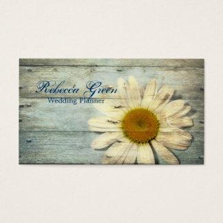 aqua blue barn wood white daisy florist business card