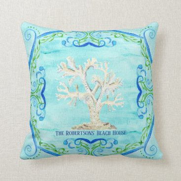 Beach Themed Aqua Blue Beach House Home Decor Coral Scrollwork Throw Pillow