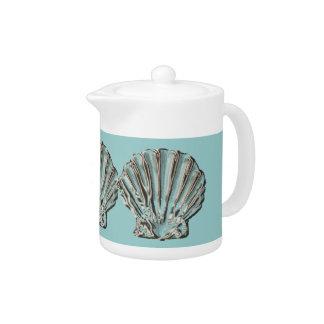 Aqua blue beach teapot