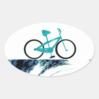 Aqua Blue Bicycle Oval Sticker