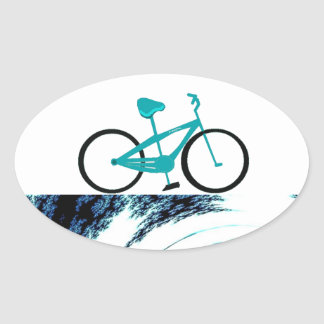 Aqua Blue Bicycle Oval Stickers