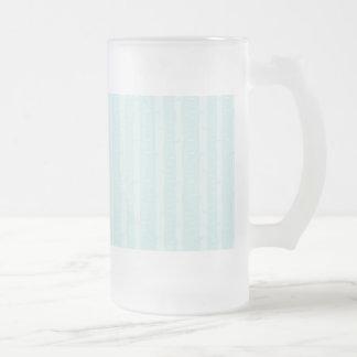 Aqua Blue Birch Bark Trees Subtle Texture Frosted Glass Beer Mug
