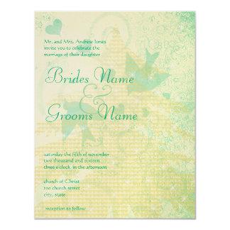 "Aqua Blue Birds & Swirls Wedding Invitations 4.25"" X 5.5"" Invitation Card"