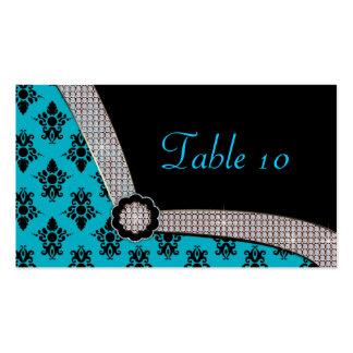 Aqua Blue & Black Damask Gem Sparkle Double-Sided Standard Business Cards (Pack Of 100)