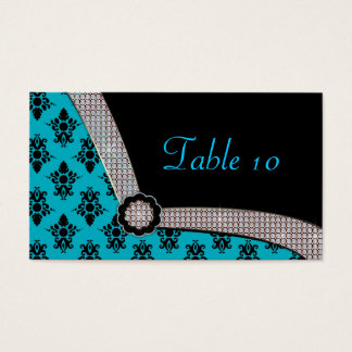 Aqua Blue & Black Damask Gem Sparkle Business Card