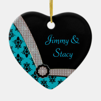 Aqua Blue & Black Damask Gem Sparkle Ceramic Ornament