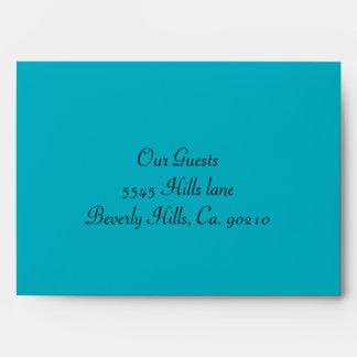 Aqua Blue & Black Damask Gem Sparkle Envelope
