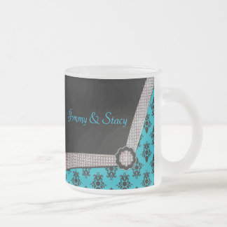 Aqua Blue & Black Damask Gem Sparkle Frosted Glass Coffee Mug