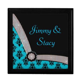 Aqua Blue & Black Damask Gem Sparkle Gift Box