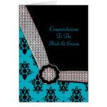 Aqua Blue & Black Damask Gem Sparkle Greeting Card