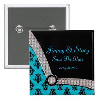 Aqua Blue & Black Damask Gem Sparkle Pinback Button