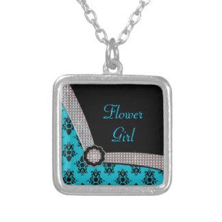 Aqua Blue & Black Damask Gem Sparkle Silver Plated Necklace