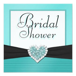 "Aqua Blue & Black Glitter Heart Wedding Shower 5.25"" Square Invitation Card"