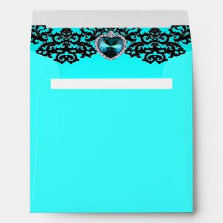 Aqua Blue & Black Ornate Heart Pendant Wedding Envelope