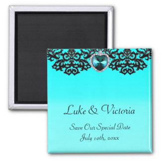 Aqua Blue & Black Ornate Heart Pendant Wedding Refrigerator Magnets