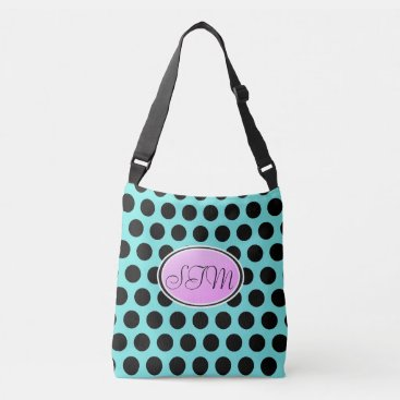 Beach Themed Aqua Blue Black Purple Polka Dot Monogram Tote Bag