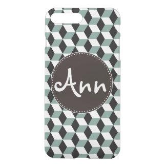 Aqua Blue Black & White 3D Cubes Pattern iPhone 8 Plus/7 Plus Case