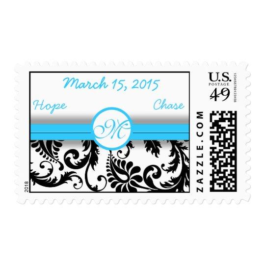 Aqua Blue & Blcak Damask Wedding Stamp