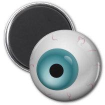 Aqua Blue  Bloodshot Zombie Eyeball Halloween Magnet