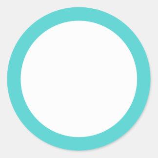 Aqua blue border blank classic round sticker