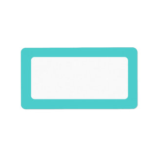 Aqua blue border blank personalized address labels